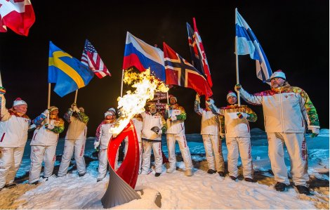 The Olympic Flame burns at the North Pole (Organizing committee of Sochi 2014)